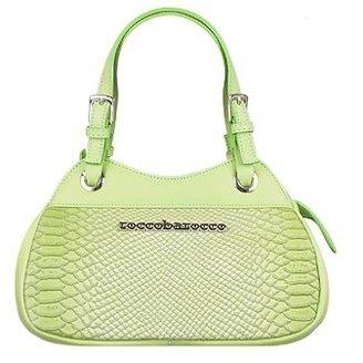 Roccobarocco Pistachio Logoed Leather Compact Satchel Bag