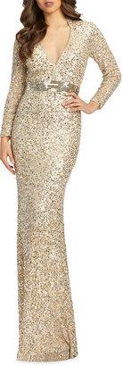 Mac Duggal Queen Anne Long-Sleeve Sequin Column Gown