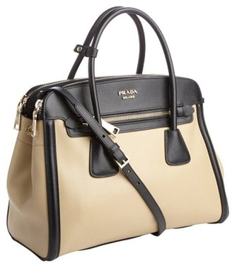 Prada sand and black leather convertible satchel