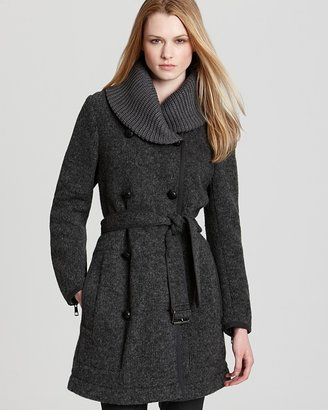 Burberry Webberly Spongy Wool Coat with Shawl Collar