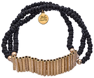 Blee Inara Black and Gold Triple Layer Bead and Bar Bracelet