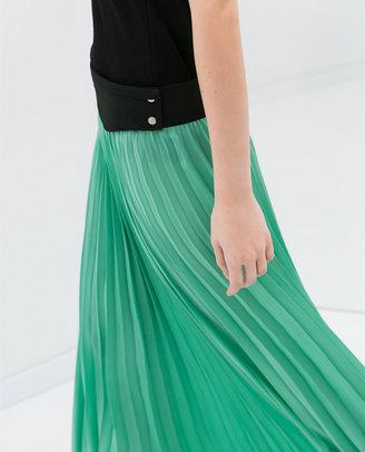Zara Long Fine Pleat Skirt
