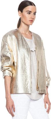 Isabel Marant Camelia Lambskin Leather Jacket in Gold