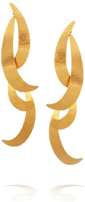 Herve Van Der Straeten 24-karat gold-plated tiered earrings