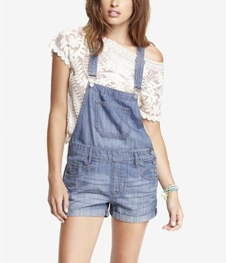 Express 2 1/2 Inch Denim Overall Shorts
