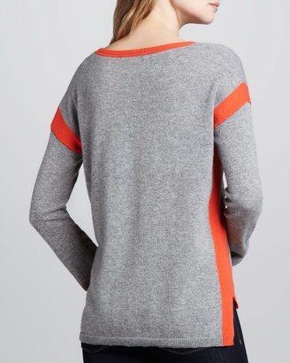 Autumn Cashmere Two-Tone Cashmere Sweatshirt