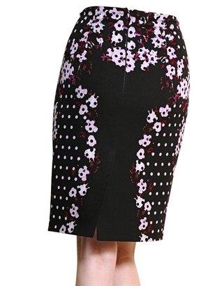 Erdem Flower & Polkadot Print Silk Crepe Skirt