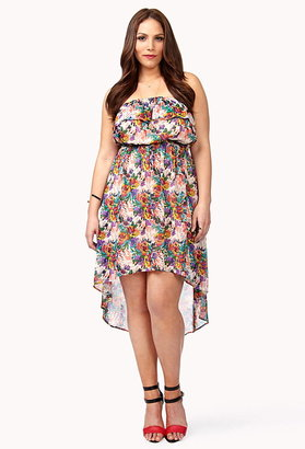 Forever 21 FOREVER 21+ Abstract Floral Print High-Low Dress