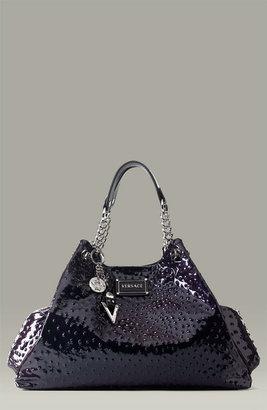 Versace Ostrich Stamped Patent Leather Bag
