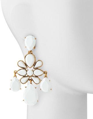 Oscar de la Renta Faceted Chandelier Clip-On Earrings, White