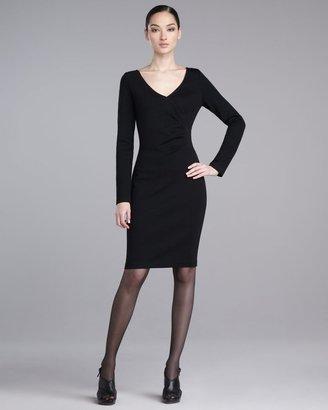 St. John Milano Faux-Wrap Knit Dress