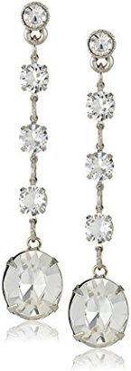 "1928 Jewelry ""Signature Crystal"" Genuine Swarovski Faceted Oval Linear Drop Earrings, 2"" $60 thestylecure.com"