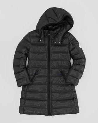 Moncler Girls' Long Moka Hooded Jacket, Black, Sizes 8-10