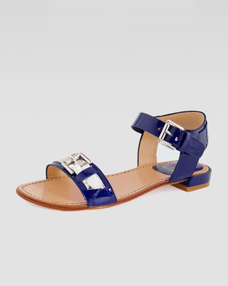 Stuart Weitzman Patent Flat Sandal