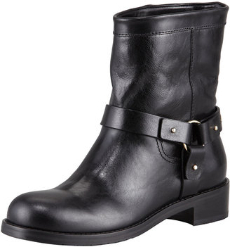 Jimmy Choo Dixi Shiny Calfskin Low Moto Boot, Black