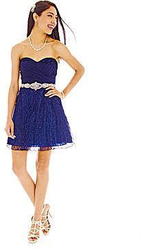 My Michelle Strapless Embellished Lace Dress