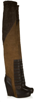 Rick Owens Suede and leather wedge thigh boots