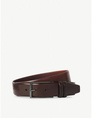 HUGO BOSS Mens Med Brown Brushed Leather Belt, Size: 30