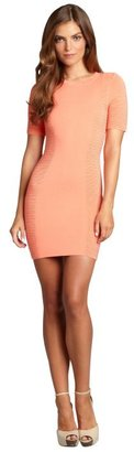 Torn By Ronny Kobo coral jersey 'Ruth' ribbed side dress
