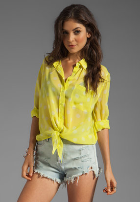 Equipment Spotted Summer Daddy Tie Front Blouse