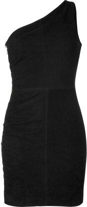 Faith Connexion Black Asymmetrical Leather Dress