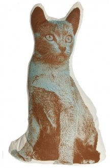 Design Public Pin It Fauna Cat Pillow - Brown And Blue On Natural
