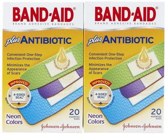 Safety First Band-Aid Antibiotic Waterproof Adhesive Bandages-Neon, Assorted Sizes