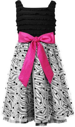 Sweet Heart Rose Girls Dress, Little Girls Zebra Dot Party Dress