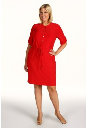 Calvin Klein Plus Size Solid Roll Sleeve Dress (Rouge) - Apparel