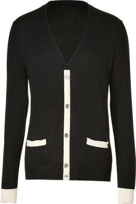 Marc by Marc Jacobs Black/Cream Silk-Cotton-Cashmere Cardigan