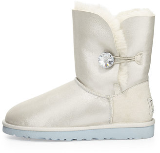 UGG I Do! Bailey Short Crystal Button Bridal Shearling Boot, White
