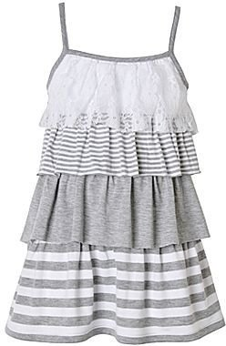 JCPenney Pinky 4-Tier White & Gray Dress - Girls 2t-5t