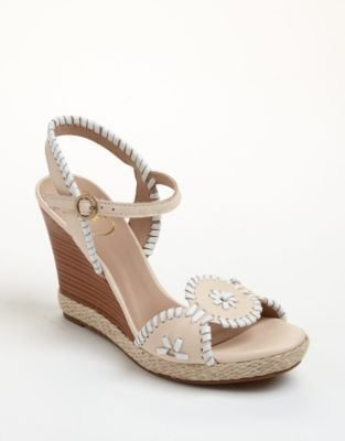 Jack Rogers Clare Rope Leather Wedge Sandals