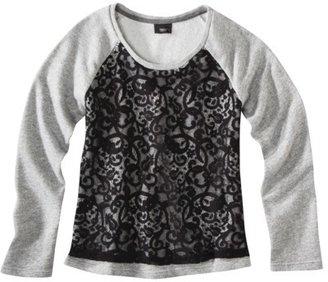 Mossimo Women's Lace Front Sweatshirt -Grey