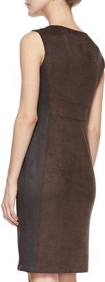 Halston Sleeveless Sueded-Fabric Sheath Dress, Earth Charcoal