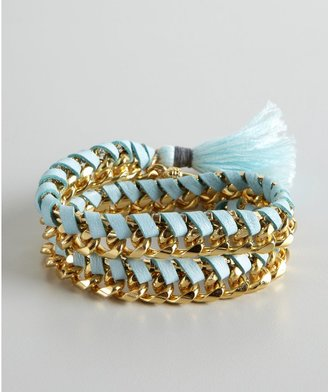 Ettika Baby Blue Leather And Gold Woven Wrap Tassel Bracelet