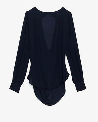 Haute Hippie Drape Open Back Blouse: Navy