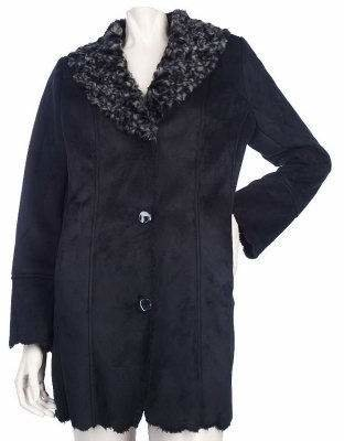 Dennis Basso Faux Shearling Jacket with Rosette Collar