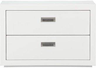 "Crate & Barrel Ascend II White 27"" Two-Drawer Storage Unit."
