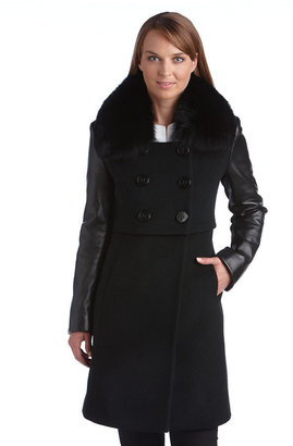 Elie Tahari Fur Collar Double Breasted Coat