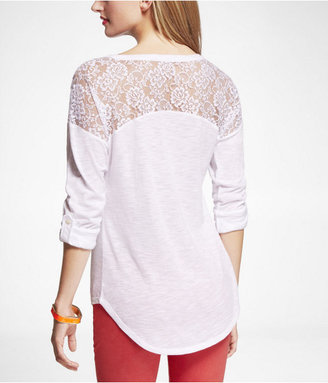 Express Rolled Sleeve Lace Inset Tee