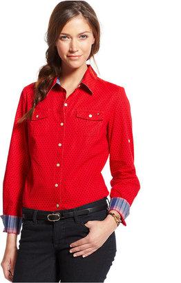 Tommy Hilfiger Long-Sleeve Polka-Dot Shirt