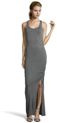 Wyatt heather charcoal stretch jersey ruched maxi tank dress