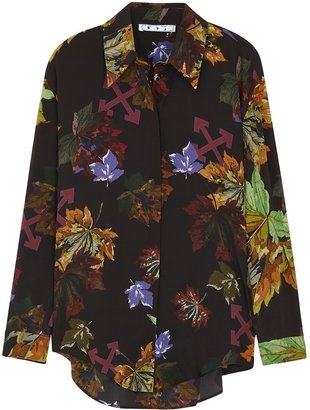 Off-White Leaves Printed Silk Crepe De Chine Shirt