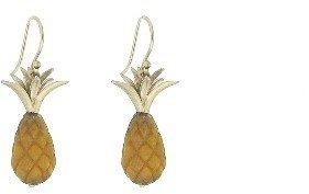 Annette Ferdinandsen Tigers Eye Pineapple Earrings - 10 Karat Yellow Gold