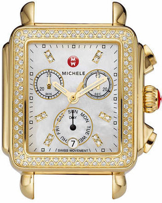 Michele 18mm Deco Diamond Watch Head, Gold