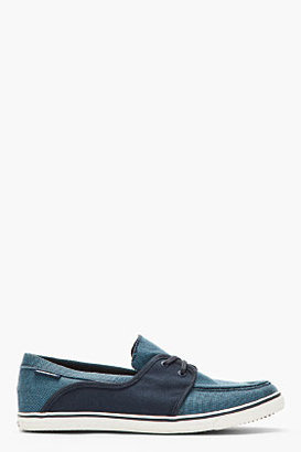 Diesel Blue & Navy Checked Lace Up Malory Boater Shoes