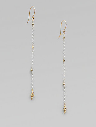 Mizuki Sterling Silver and 14K Yellow Gold Chain Earrings