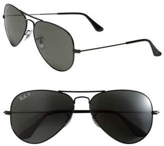 Men's Ray-Ban 'Polarized Original Aviator' 58Mm Sunglasses - Black/ Green P $200 thestylecure.com
