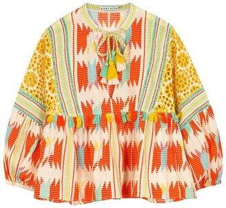 Alice + Olivia Rosana Printed Cotton Blouse